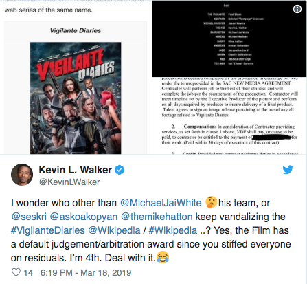 Vigilante Diaries Star Kevin L. Walker Confirms 100% Arbitration Award for Cast and Crew