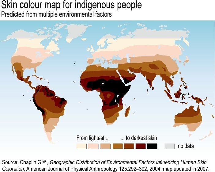 Skin color map for INDIGENOUS people INDEGENOUS