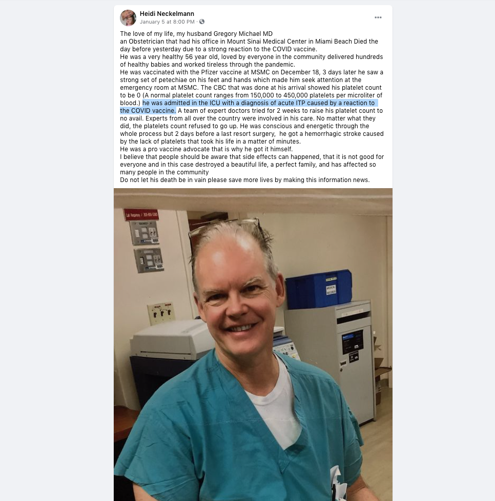 Doctor Dies After being Admitted with acute ITP caused by a reaction to the COVID vaccine